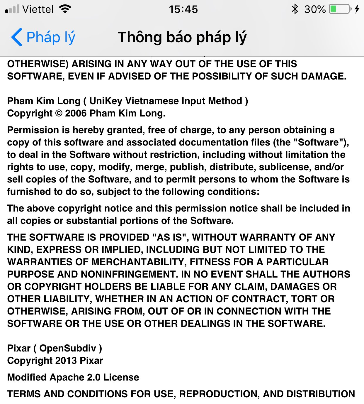 iOS Legal Notice